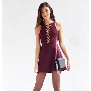 UO Silence and Noise Maxine Lace Up Dress XS